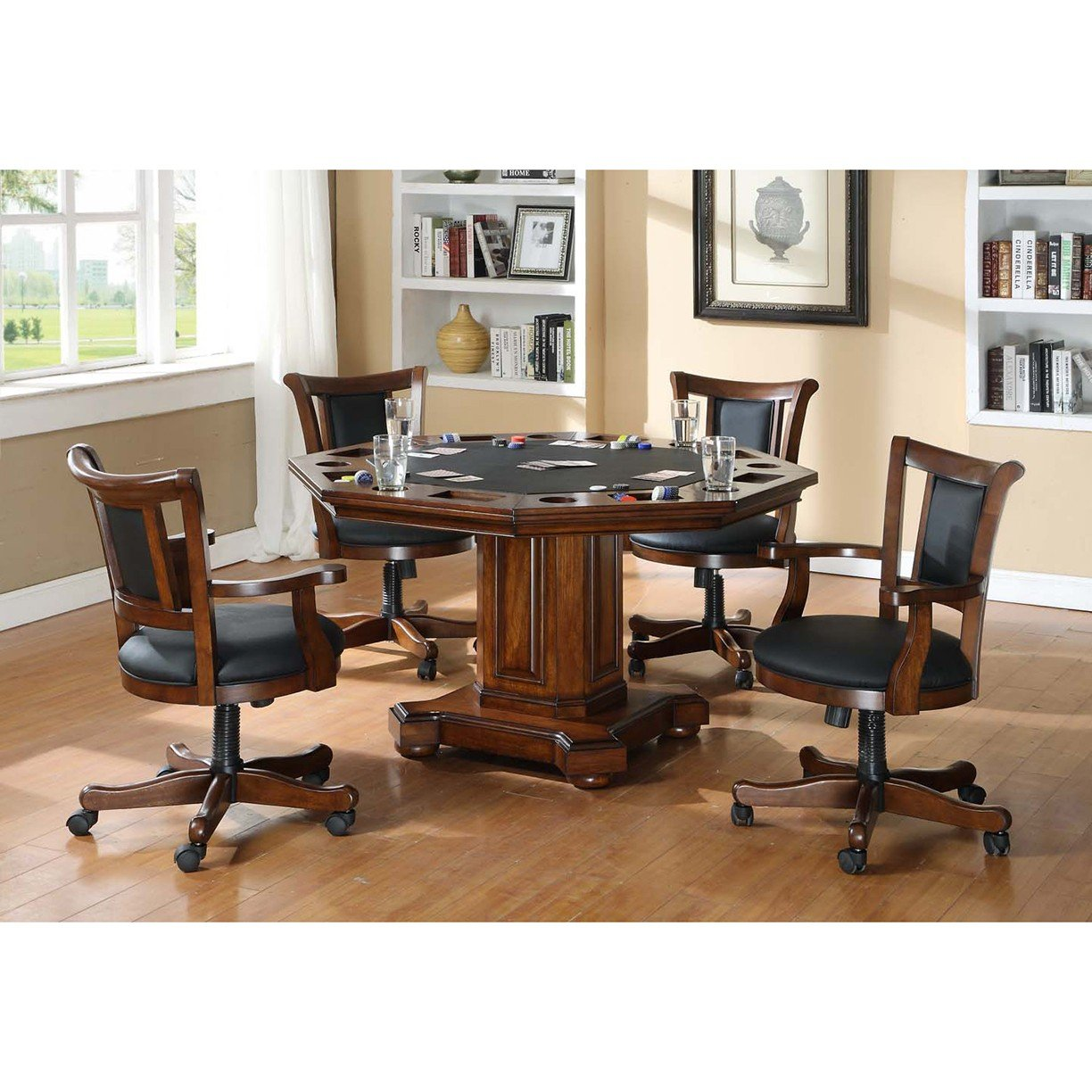 Table Easily Converts From Dining To Poker Top U2022 52 In. Octagonal Top U2022  Poker Top Features Felt Playing Surface, Chip Holders And Cork Cup Holders